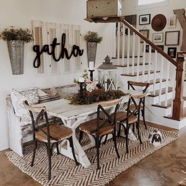 30 Best Farmhouse Table Dining Room Decor Ideas (27)