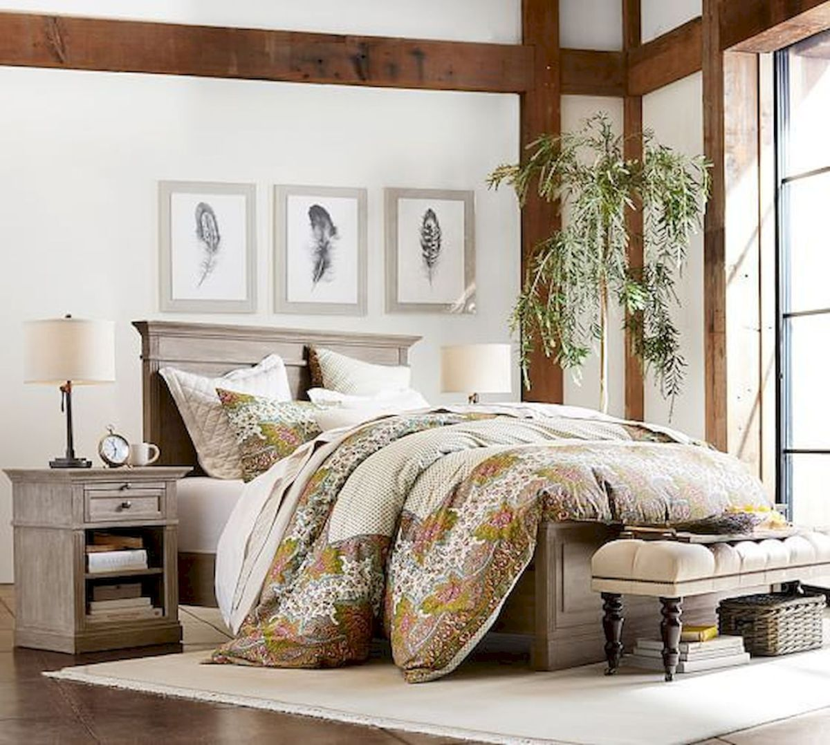 50 Awesome Farmhouse Bedroom Decor Ideas And Remodel (23)