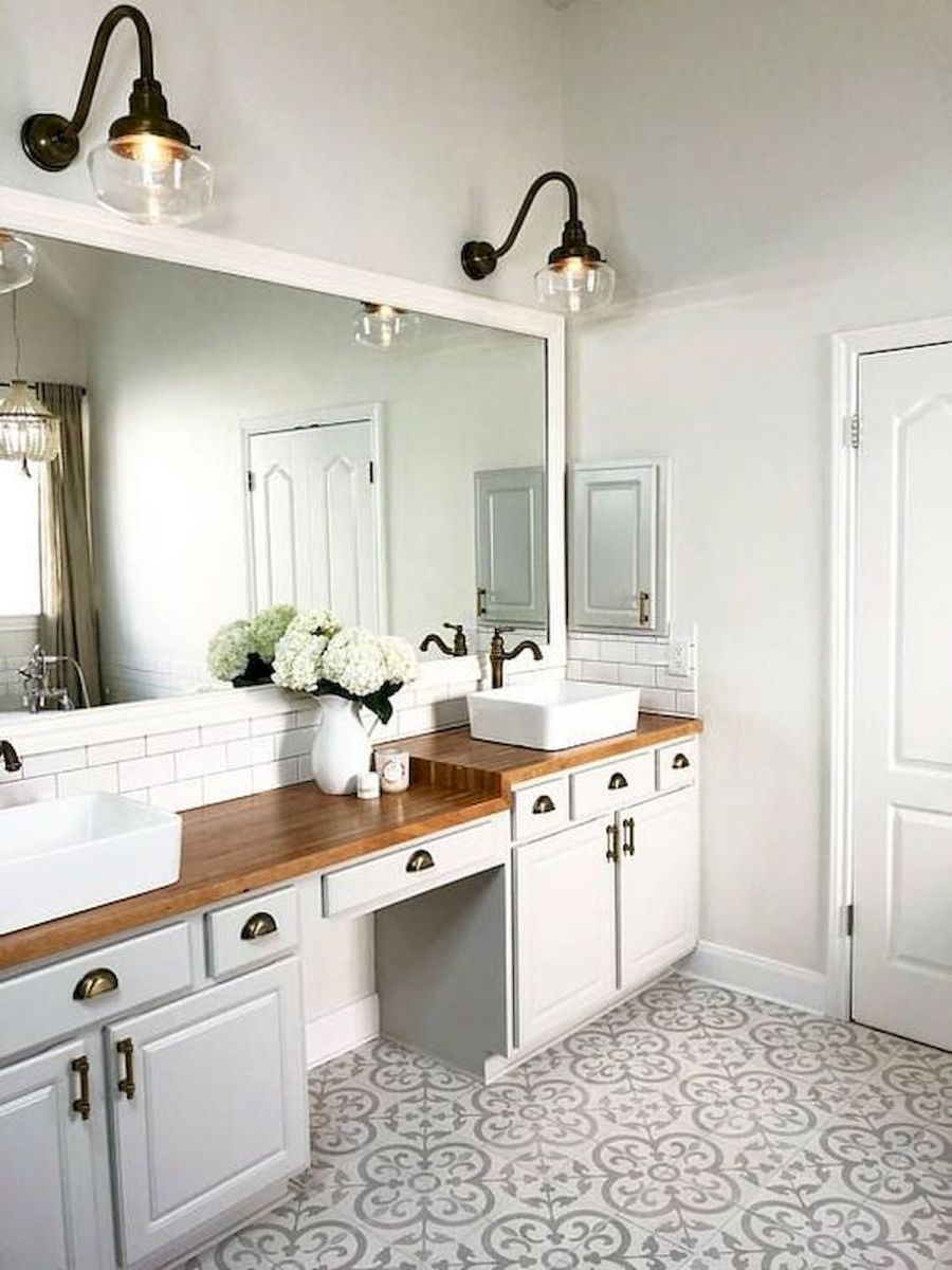 60 Fantastic Farmhouse Bathroom Vanity Decor Ideas And Remodel (1)