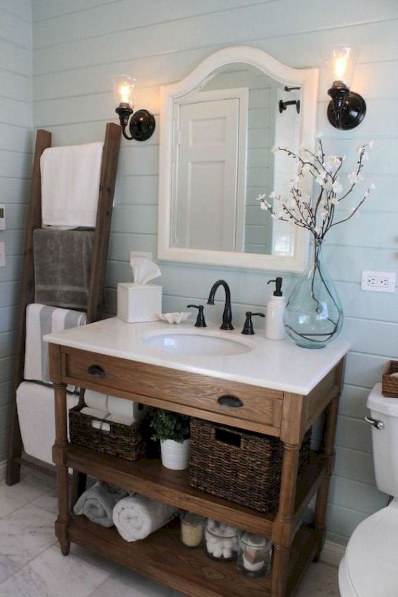 60 Fantastic Farmhouse Bathroom Vanity Decor Ideas And Remodel (36)