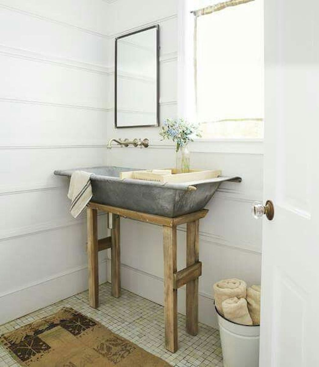 60 Fantastic Farmhouse Bathroom Vanity Decor Ideas And Remodel (50)