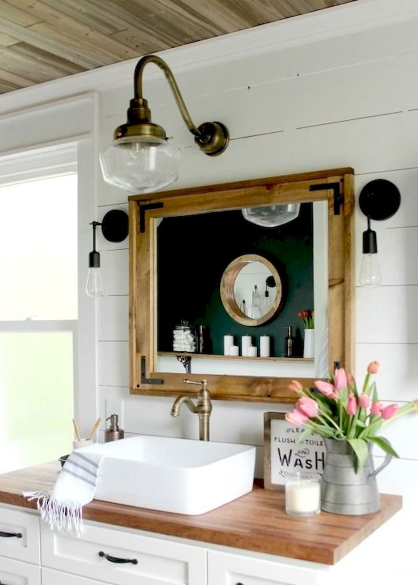 60 Fantastic Farmhouse Bathroom Vanity Decor Ideas And Remodel (51)