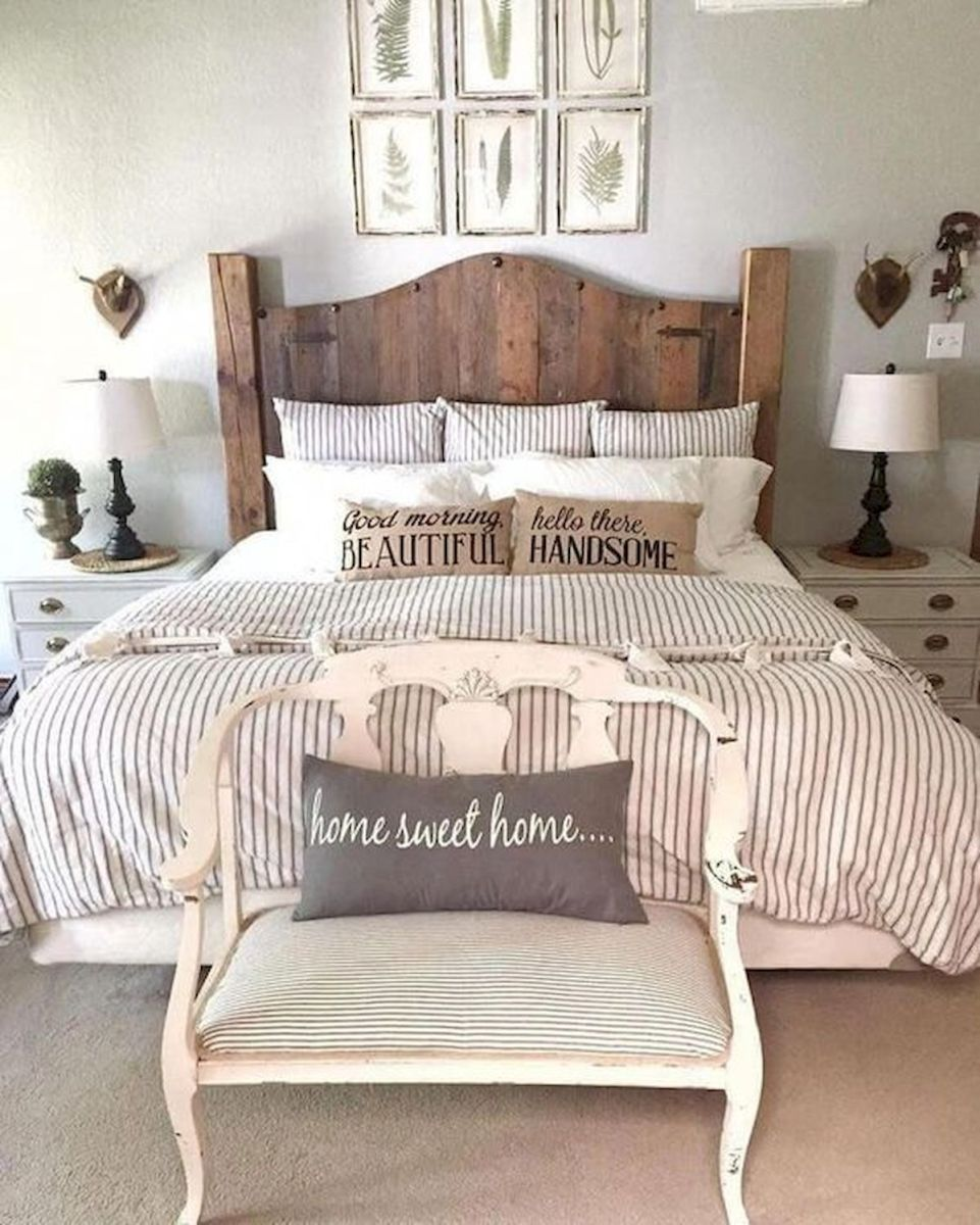 69 Best Farmhouse Bedding Decor Ideas And Remodel (60)