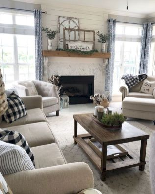 70 Best Farmhouse Living Room Decor Ideas And Remodel (5)