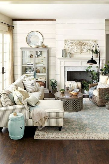 70 Best Farmhouse Living Room Decor Ideas And Remodel (51)