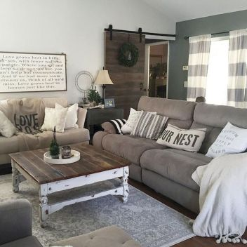 70 Best Farmhouse Living Room Decor Ideas And Remodel (62)