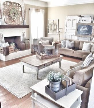 70 Best Farmhouse Living Room Decor Ideas And Remodel (70)