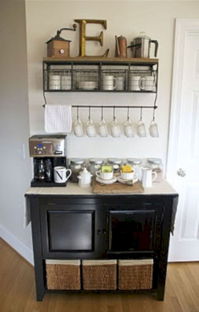 60 Suprising Mini Coffee Bar Ideas for Your Home (24)