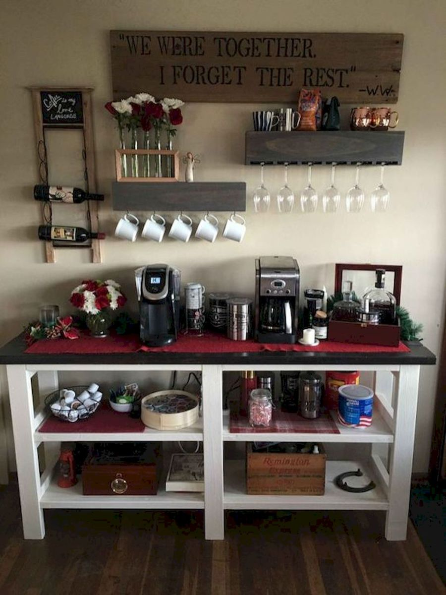 60 Suprising Mini Coffee Bar Ideas for Your Home (27)