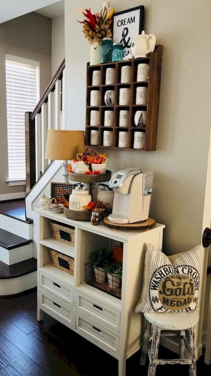 60 Suprising Mini Coffee Bar Ideas for Your Home (35)
