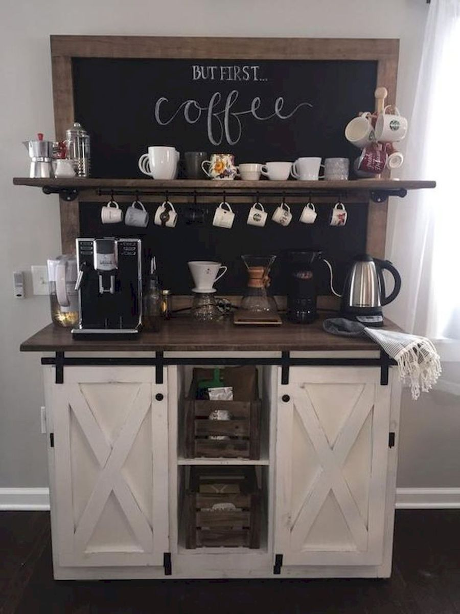 60 Suprising Mini Coffee Bar Ideas for Your Home (44)