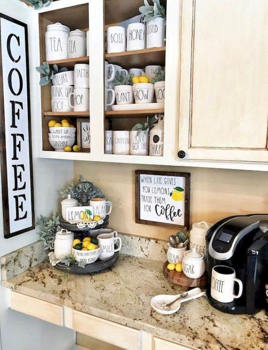 60 Suprising Mini Coffee Bar Ideas for Your Home (47)