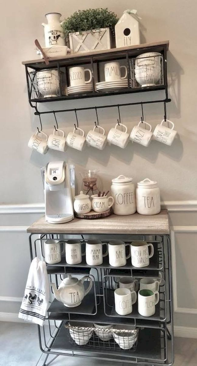 60 Suprising Mini Coffee Bar Ideas for Your Home (51)