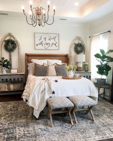 47 Most Popular Bedding for Farmhouse Bedroom Design Ideas and Decor (41)