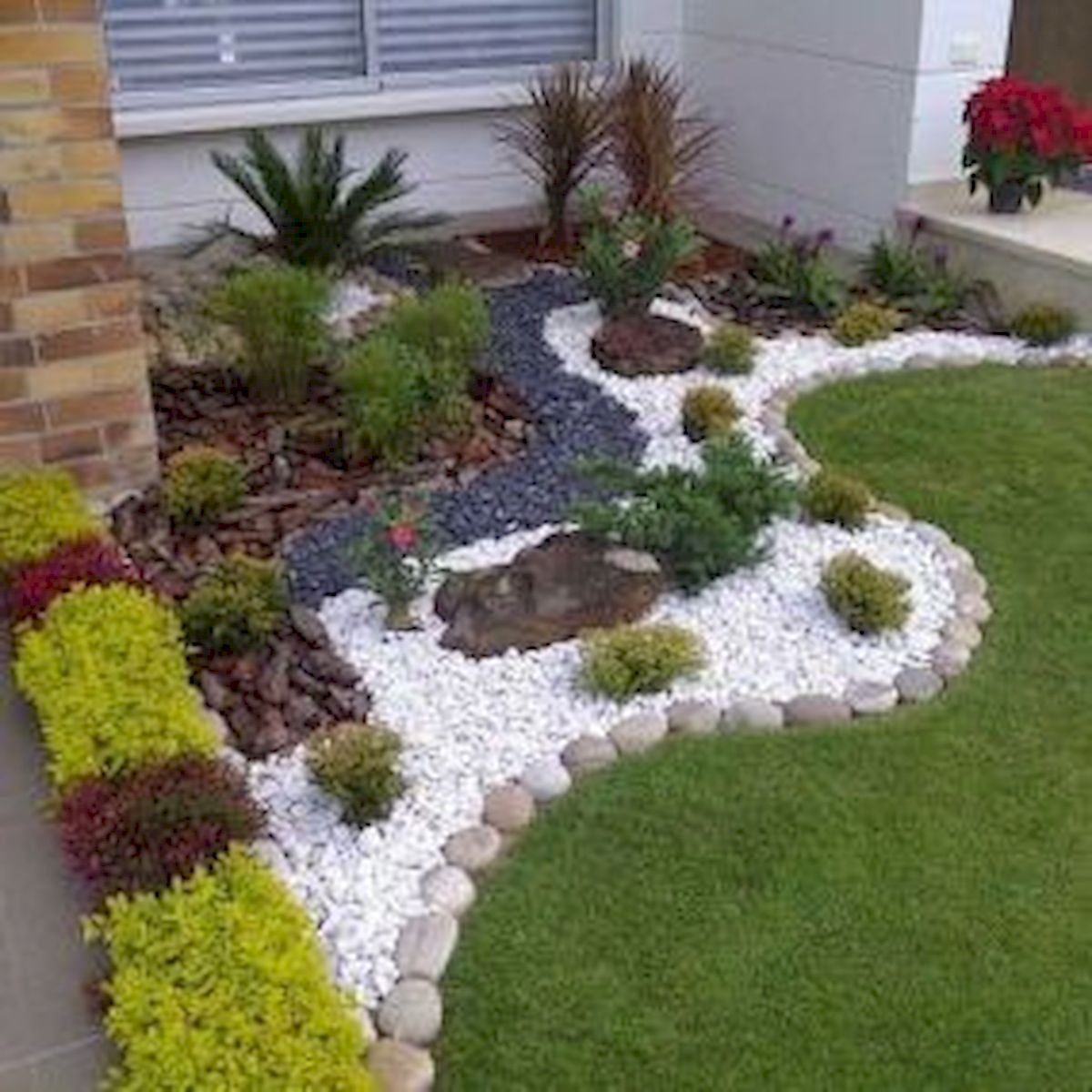 Front Yard Low Maintenance Low Cost Small Garden Design ... on Low Cost Patio Ideas id=91406