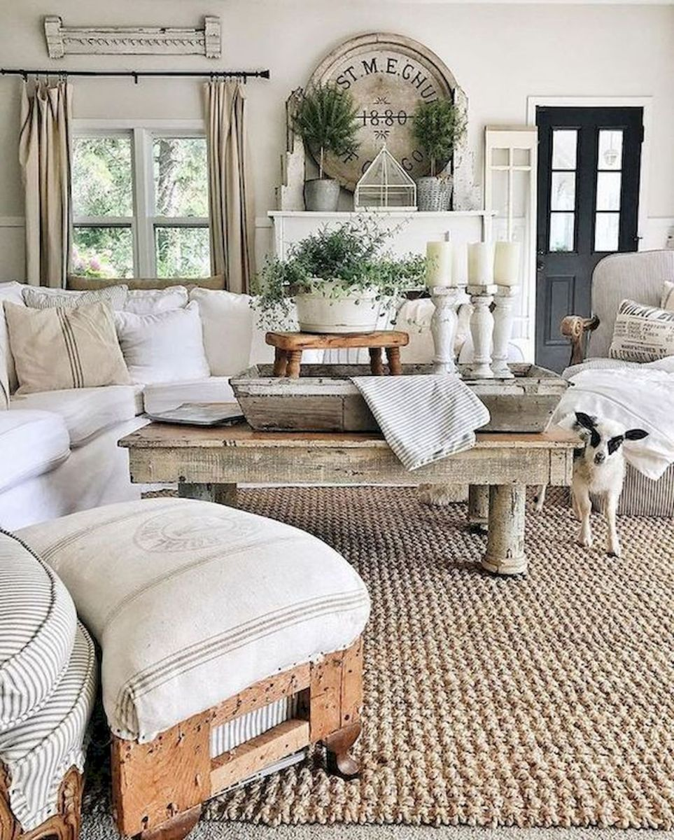 105 Best Farmhouse Living Room Decor Ideas (97)