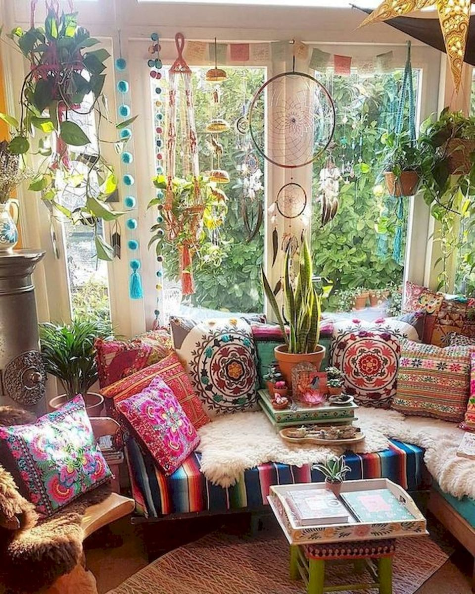 55 Bohemian Living Room Decor Ideas (55)