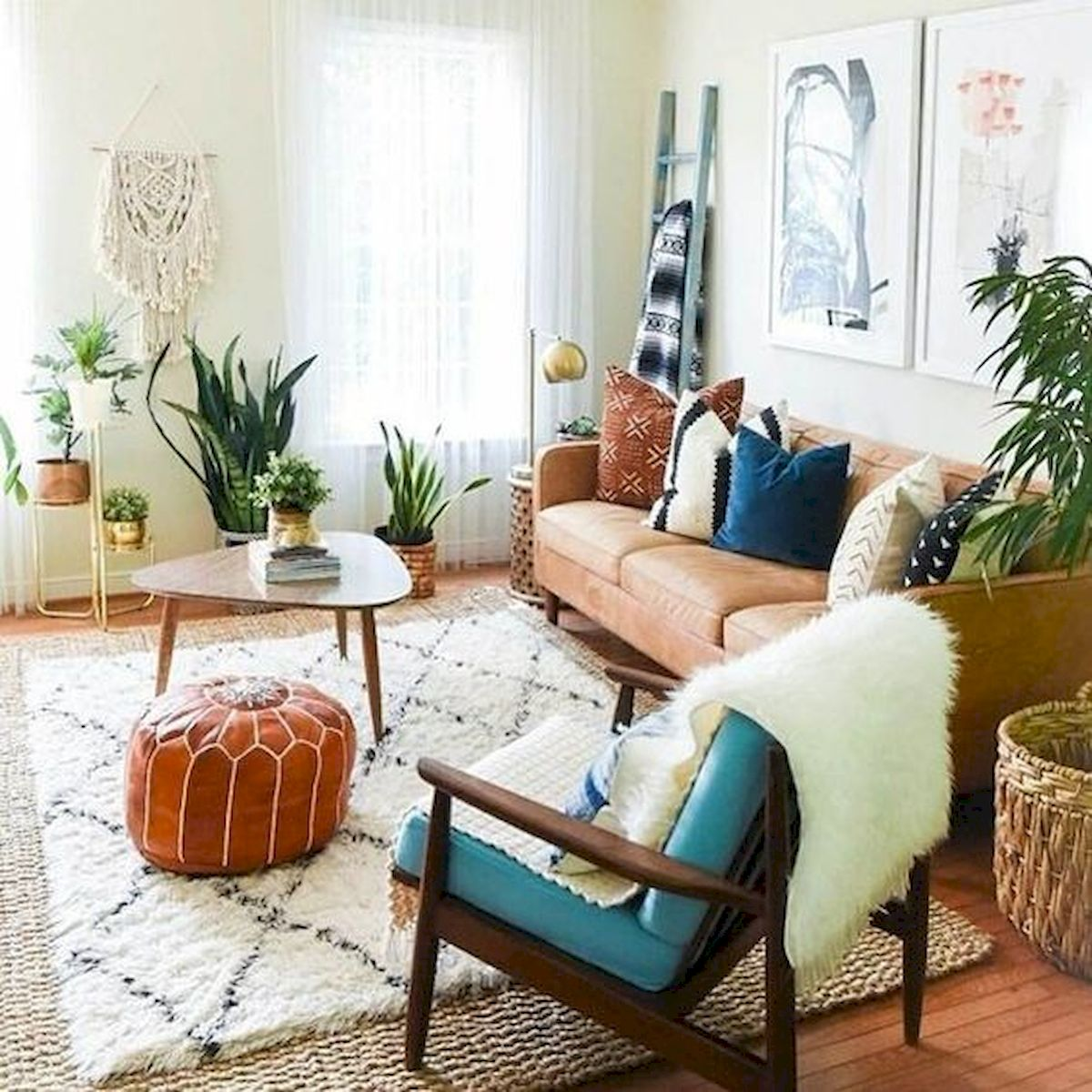 55 Bohemian Living Room Decor Ideas (6)