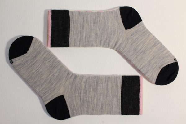 goomo.shop_pink and natural striped superfine Australian Merino socks Adult size
