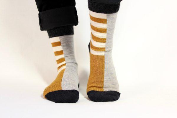 goomo.shop_ochre and natural stripe adult merino socks