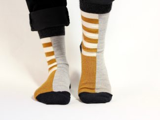 goomo.shop_ochre and natural stripe adult merino socks