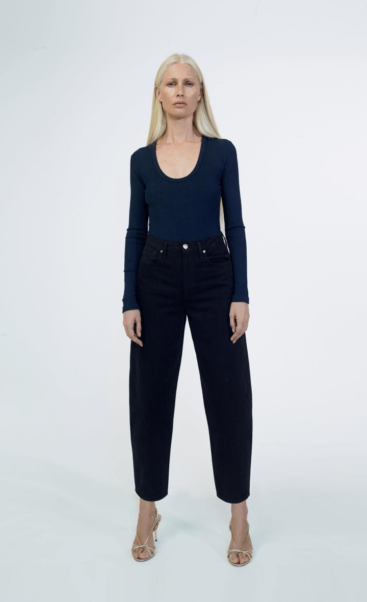 model wearing goldsign jeans