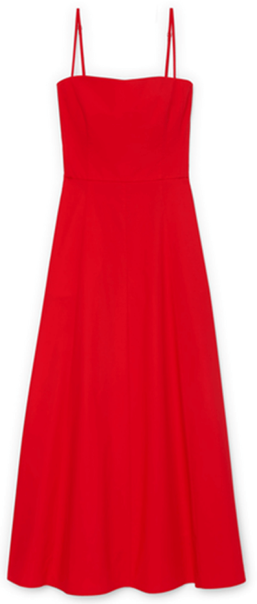 G. Label Cambria Skinny-Strap Midlength Dress, goop, $525