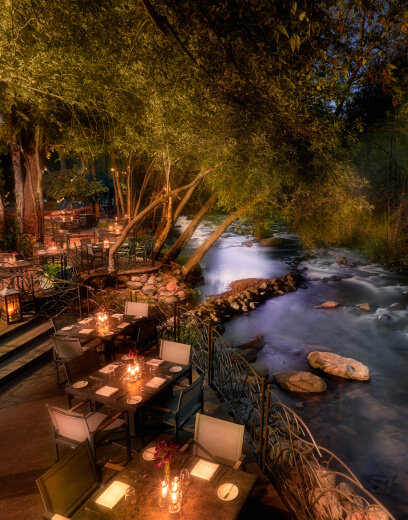 outdoor dining by a river