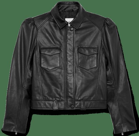 G. LABEL               Margaret Puff-Sleeve Leather Jacket