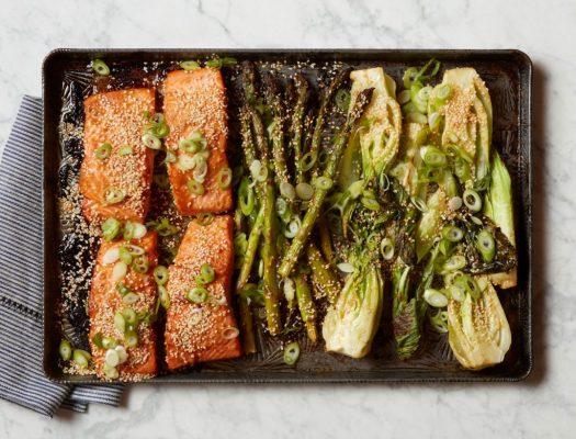 Miso Salmon with Bok Choy and Asparagus