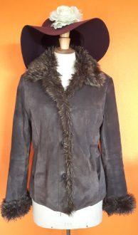 Vintage suede bruine jas ARMA maat 36/38, Goosvintage