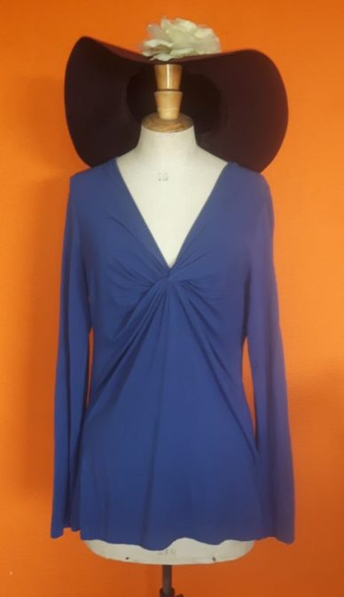 Vintage blauw shirt Claudia Sträter maat 40,Goosvintage