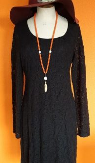 Zwarte kanten jurk Kyra & Ko, maat L/XL,Goosvintage