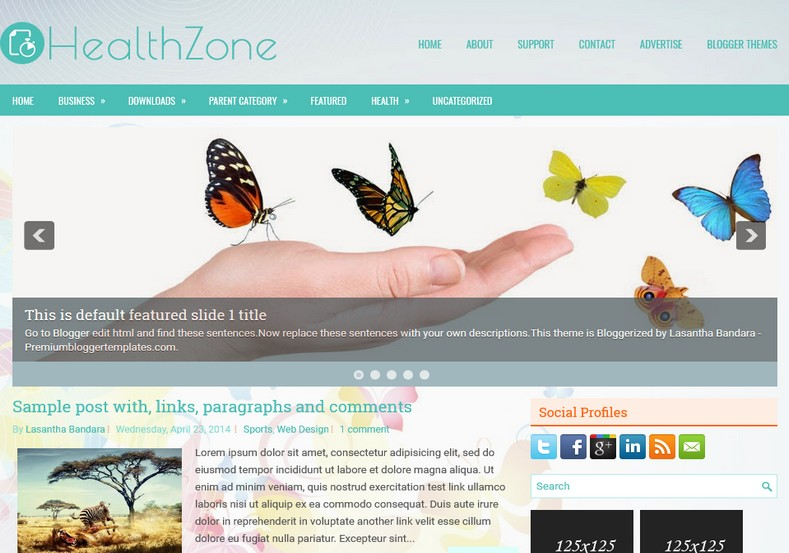 HealthZone Responsive Blogger Template. Blogger Themes. Free Blogspot templates for your blogger blog. Best suitable for news blog templates. Ads ready blogspot templates help for add adsense ad code and easily showing adsence ads in your blog. Adapted from WordPress templates are converted from WordPress themes. It is help for take your rich. Blogger magazine template specially designed for magazine blogs. The writers can utilize this themes for take blog attractive to users. Elegant themes are more used themes in most of the blogs. Use minimalist blog templates for rich look for your blog. Free premium blogger themes means, themes authors release two types of themes. One is premium another one is free. Premium templates given for cost but free themes given for no cost. You no need pay From California, USA. $10 USD, or $20 USD and more. But premium buyers get more facilities from authors But free buyers. If you run game or other animation oriented blogs, and you can try with Anime blog templates. Today the world is fashion world. So girls involve to the criteria for make their life fashionable. So we provide fashion blogger themes for make your fashionable. News is most important concept of the world. Download news blogger templates for publishing online news. You can make your blog as online shopping store. Get Online shopping store blogger template to sell your product. Navigation is most important to users find correct place. Download drop down menu, page navigation menu, breadcrumb navigation menu and vertical dropdown menu blogspot themes for free. Google Guide to blogging tips and tricks for bloggers. Google bloggers can get blogspot trick and tips for bloggers. Blog templates portfolio professional blogspot themes, You can store your life moments with your blogs with personal pages templates. Video and movie blogs owners get amazing movie blog themes for their blogs. Business templates download. We publish blogger themes for photographers. Photographers easi