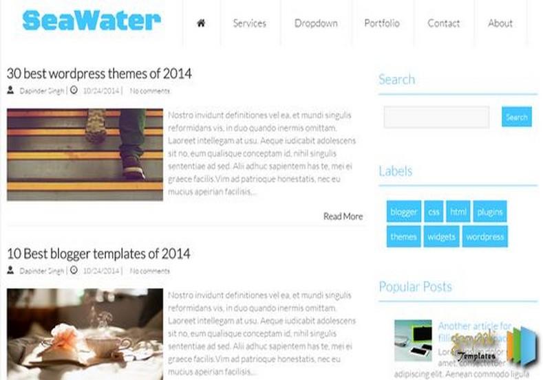 SeaWater Blogger Template magazine blogspot template for 2015