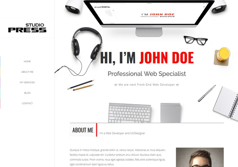 Studio Press Blogger Template. One page business and portfolio blogger templates specially for business and personal blogs. Persons can show their resume with this Studio Press Blogger Template.