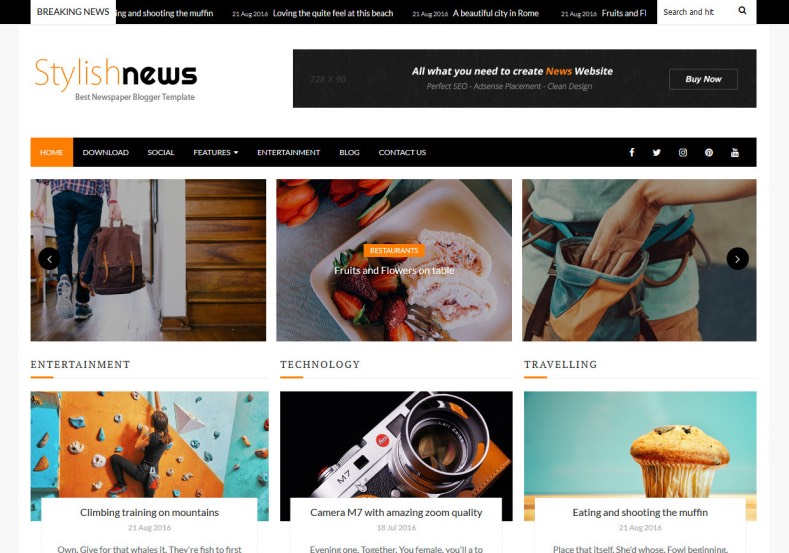 Stylish News Blogger Template. If you want to built news blog with blogger then download our free blogger templates 2016 for it. Simple and best quality new and magazine blogger templates. Stylish News Blogger Template.