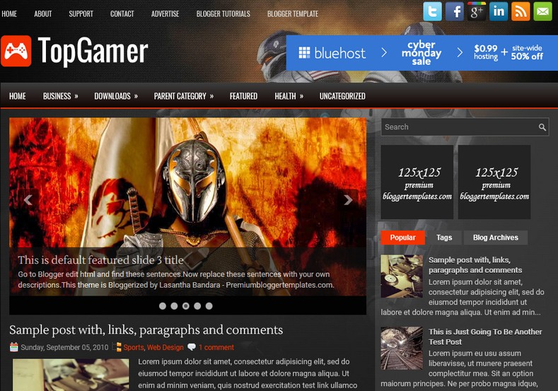 TopGamer Dark Blogger Template. Blogger Themes. Free Blogspot templates for your blogger blog. Best suitable for news blog templates. Ads ready blogspot templates help for add adsense ad code and easily showing adsence ads in your blog. Adapted from WordPress templates are converted from WordPress themes. It is help for take your rich. Blogger magazine template specially designed for magazine blogs. The writers can utilize this themes for take blog attractive to users. Elegant themes are more used themes in most of the blogs. Use minimalist blog templates for rich look for your blog. Free premium blogger themes means, themes authors release two types of themes. One is premium another one is free. Premium templates given for cost but free themes given for no cost. You no need pay From California, USA. $10 USD, or $20 USD and more. But premium buyers get more facilities from authors But free buyers. If you run game or other animation oriented blogs, and you can try with Anime blog templates. Today the world is fashion world. So girls involve to the criteria for make their life fashionable. So we provide fashion blogger themes for make your fashionable. News is most important concept of the world. Download news blogger templates for publishing online news. You can make your blog as online shopping store. Get Online shopping store blogger template to sell your product. Navigation is most important to users find correct place. Download drop down menu, page navigation menu, breadcrumb navigation menu and vertical dropdown menu blogspot themes for free. Google Guide to blogging tips and tricks for bloggers. Google bloggers can get blogspot trick and tips for bloggers. Blog templates portfolio professional blogspot themes, You can store your life moments with your blogs with personal pages templates. Video and movie blogs owners get amazing movie blog themes for their blogs. Business templates download. We publish blogger themes for photographers. Photographers easily share photos via photography blog themes. St valentine Christmas Halloween templates. Download Slideshow slider templates for free. Under construction coming soon custom blogspot template. Best beautiful high quality Custom layouts Blog templates from templateism, SoraTemplates, templatetrackers, simple, cute free premium professional unique designs blog themes blogspot themes. Seo ready portfolio anime fashion movie movies health custom layouts best download blogspot themes simple cute free premium professional unique designs xml html code html5.