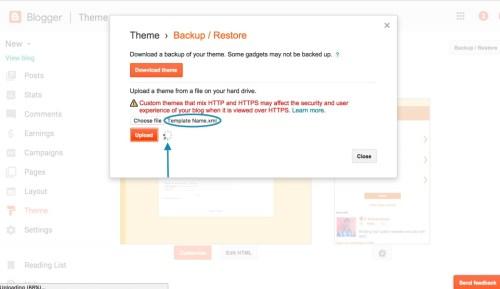 upload file template blog toko online