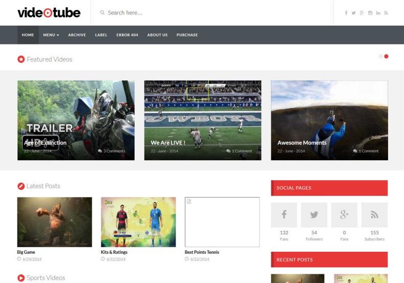 VideoTube Responsive Blogger Template 3