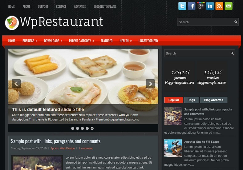 WpRestaurant Dark Blogger Template. Blogger Themes. Free Blogspot templates for your blogger blog. Best suitable for news blog templates. Ads ready blogspot templates help for add adsense ad code and easily showing adsence ads in your blog. Adapted from WordPress templates are converted from WordPress themes. It is help for take your rich. Blogger magazine template specially designed for magazine blogs. The writers can utilize this themes for take blog attractive to users. Elegant themes are more used themes in most of the blogs. Use minimalist blog templates for rich look for your blog. Free premium blogger themes means, themes authors release two types of themes. One is premium another one is free. Premium templates given for cost but free themes given for no cost. You no need pay From California, USA. $10 USD, or $20 USD and more. But premium buyers get more facilities from authors But free buyers. If you run game or other animation oriented blogs, and you can try with Anime blog templates. Today the world is fashion world. So girls involve to the criteria for make their life fashionable. So we provide fashion blogger themes for make your fashionable. News is most important concept of the world. Download news blogger templates for publishing online news. You can make your blog as online shopping store. Get Online shopping store blogger template to sell your product. Navigation is most important to users find correct place. Download drop down menu, page navigation menu, breadcrumb navigation menu and vertical dropdown menu blogspot themes for free. Google Guide to blogging tips and tricks for bloggers. Google bloggers can get blogspot trick and tips for bloggers. Blog templates portfolio professional blogspot themes, You can store your life moments with your blogs with personal pages templates. Video and movie blogs owners get amazing movie blog themes for their blogs. Business templates download. We publish blogger themes for photographers. Photographers easily share photos via photography blog themes. St valentine Christmas Halloween templates. Download Slideshow slider templates for free. Under construction coming soon custom blogspot template. Best beautiful high quality Custom layouts Blog templates from templateism, SoraTemplates, templatetrackers, simple, cute free premium professional unique designs blog themes blogspot themes. Seo ready portfolio anime fashion movie movies health custom layouts best download blogspot themes simple cute free premium professional unique designs xml html code html5.