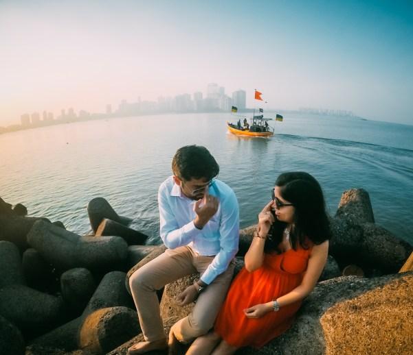 Prewedding photography at Mumbai marine drive