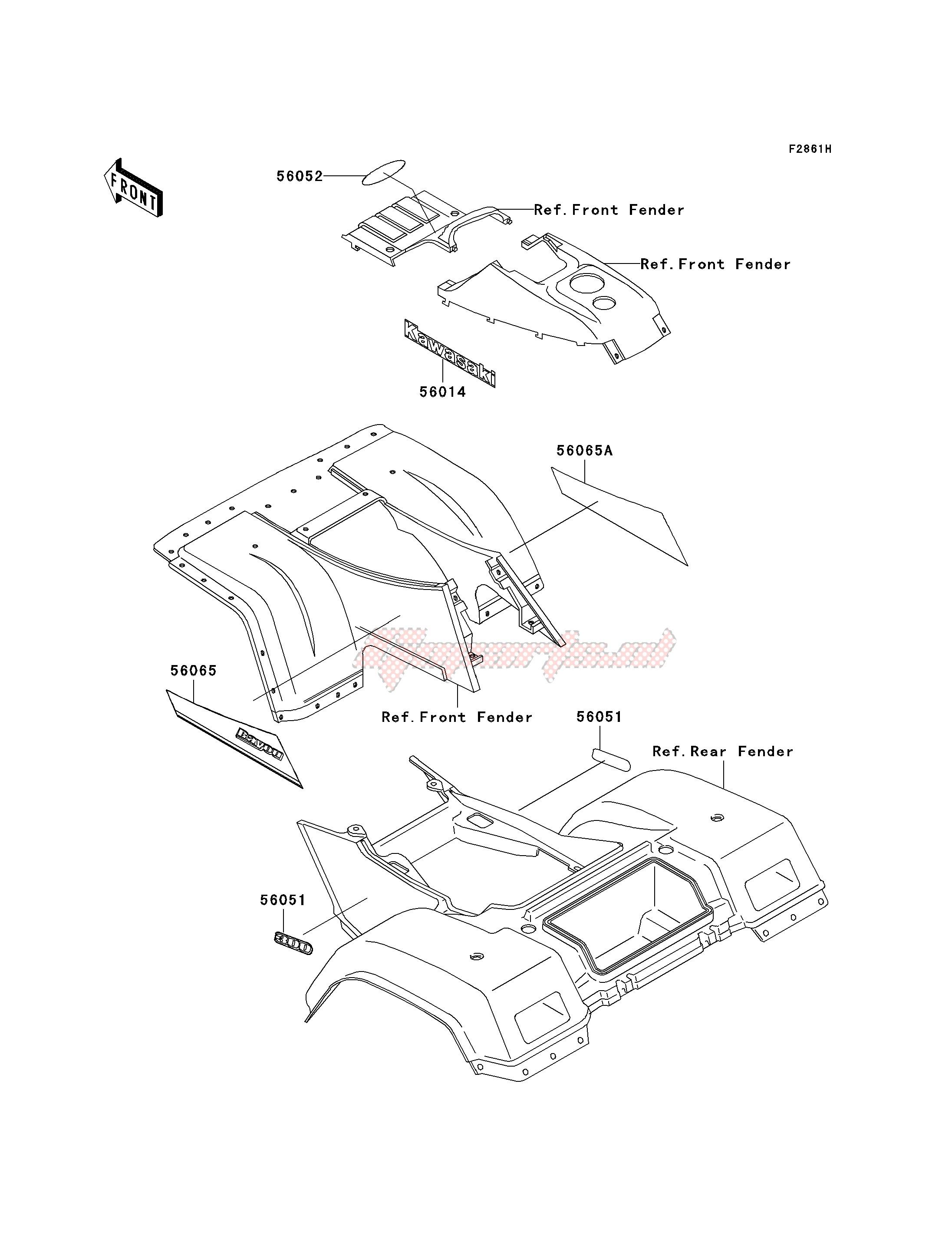 Oem Parts Kawasaki All Terrain Klf 300 C Bayou 300 4x4