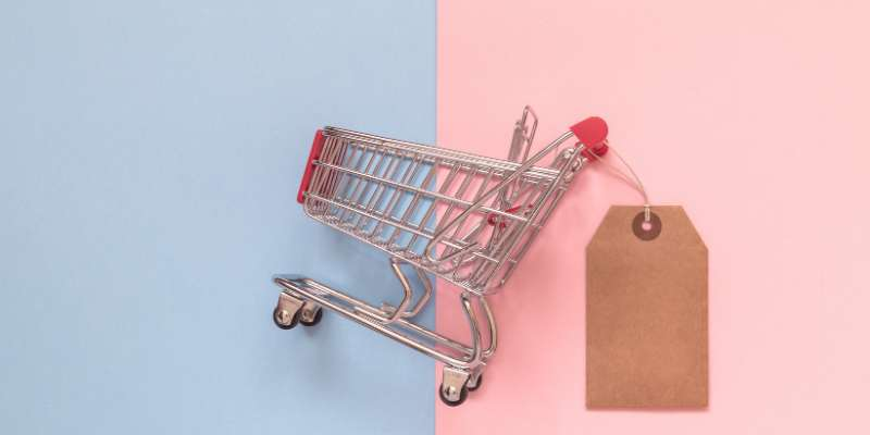 shopping cart with tag attached