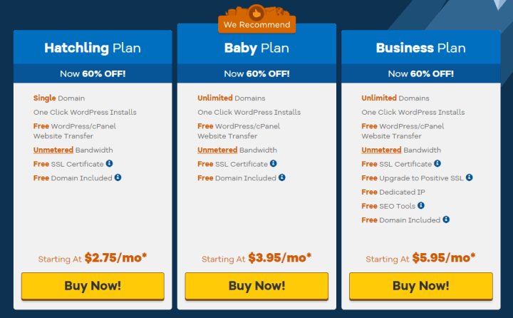Hostgator shared hosting plans with free domain names