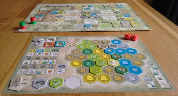 Castles of Burgundy board and player board