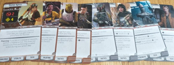 An image of all eight playable characters in the Star Wars Outer Rim board game.