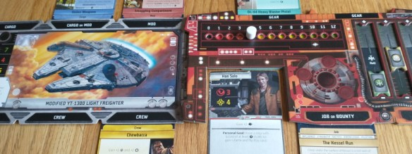 Han Solo set up as player in Star Wars Outer Rim, with Chewbacca and the Millennium Falcon.