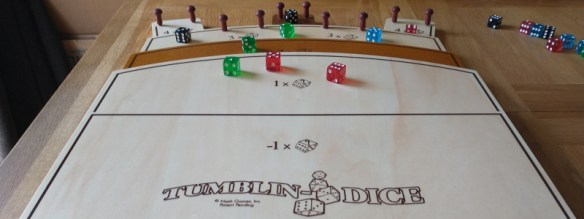 Wide shot of the Tumblin' Dice board game in play.