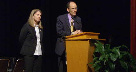 U.S. Assistant Attorney General Thomas Perez (right) and U.S. Attorney for the Western District of North Carolina Anne Tompkins at Northwest School of the Arts in Charlotte.